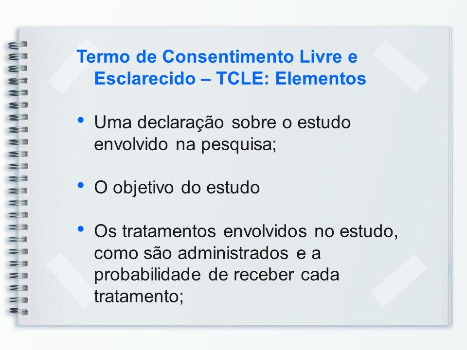 Termo de Consentimento Livre e Esclarecido – TCLE: Elementos