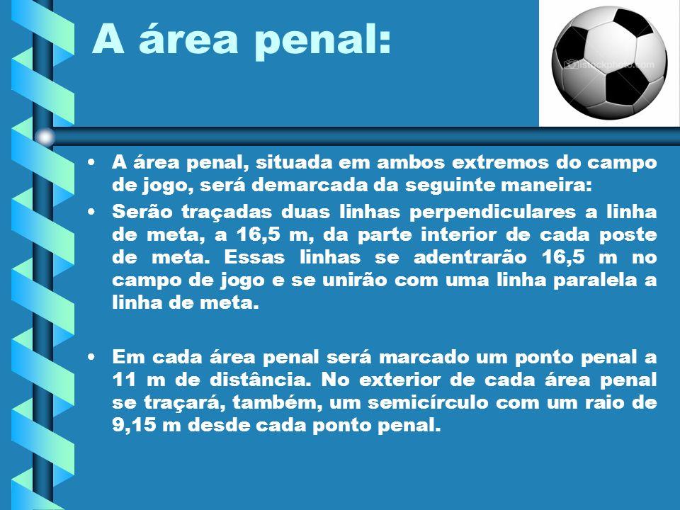 A área penal: A área penal, situada em ambos extremos do campo de jogo, será demarcada da seguinte maneira: