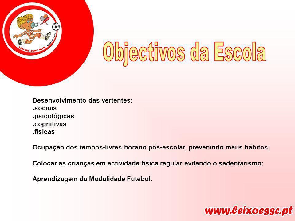 Objectivos da Escola Desenvolvimento das vertentes: .sociais