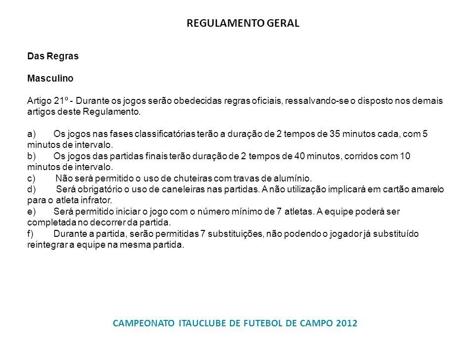 CAMPEONATO ITAUCLUBE DE FUTEBOL DE CAMPO 2012