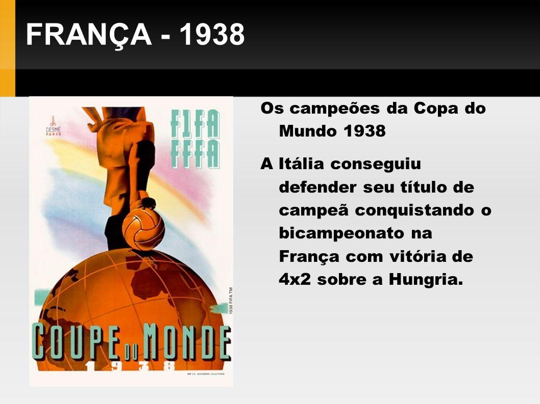 FRANÇA - 1938 Os campeões da Copa do Mundo 1938