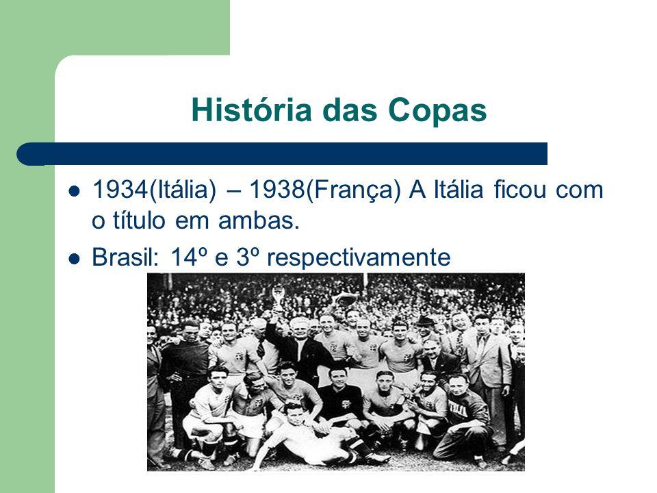 História das Copas 1934(Itália) – 1938(França) A Itália ficou com o título em ambas.