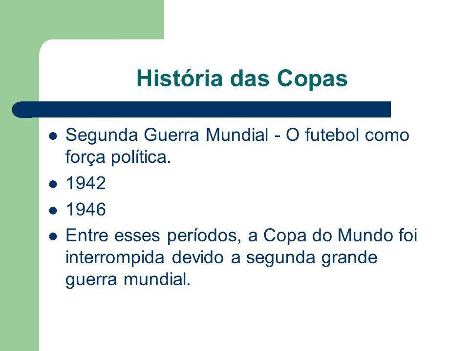 História das Copas Segunda Guerra Mundial - O futebol como força política. 1942. 1946.