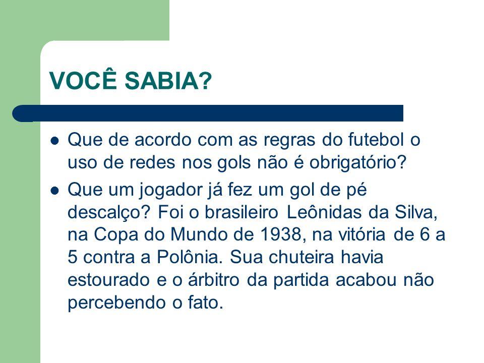 VOCÊ SABIA Que de acordo com as regras do futebol o uso de redes nos gols não é obrigatório