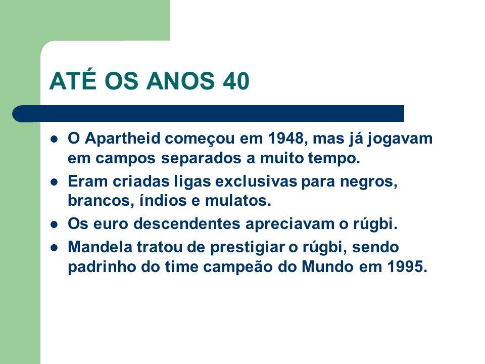 ATÉ OS ANOS 40 O Apartheid começou em 1948, mas já jogavam em campos separados a muito tempo.