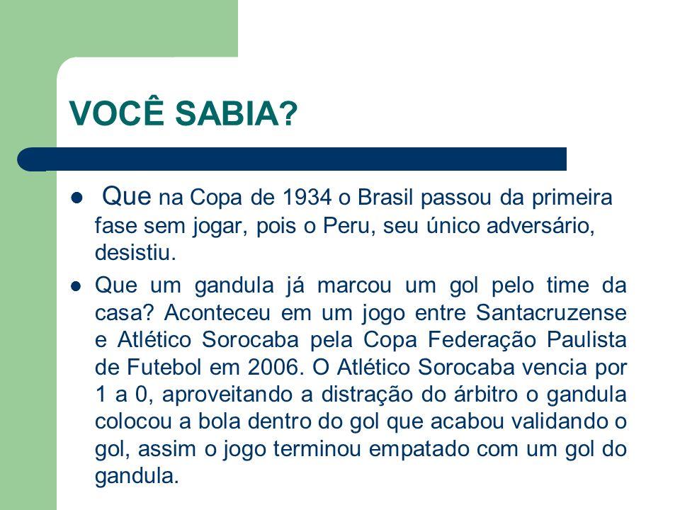 VOCÊ SABIA Que na Copa de 1934 o Brasil passou da primeira fase sem jogar, pois o Peru, seu único adversário, desistiu.