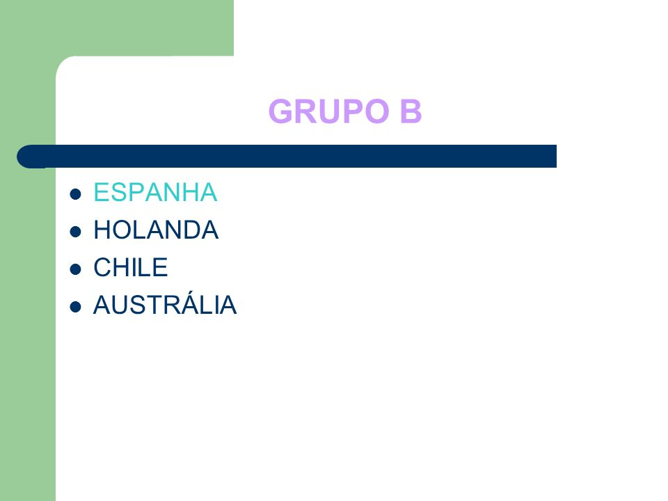 GRUPO B ESPANHA HOLANDA CHILE AUSTRÁLIA