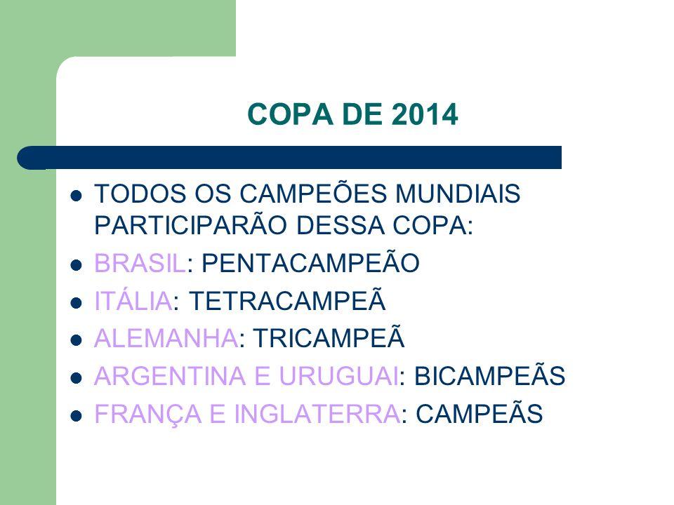 COPA DE 2014 TODOS OS CAMPEÕES MUNDIAIS PARTICIPARÃO DESSA COPA: