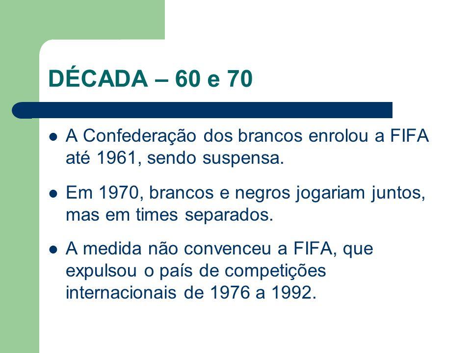 DÉCADA – 60 e 70 A Confederação dos brancos enrolou a FIFA até 1961, sendo suspensa.