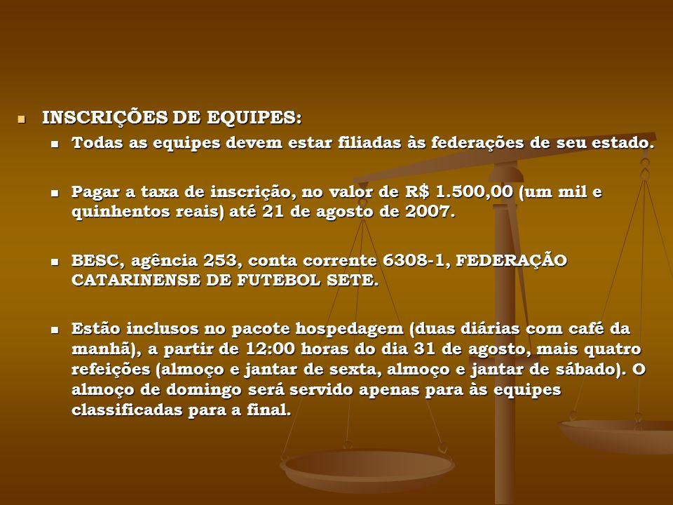 INSCRIÇÕES DE EQUIPES: