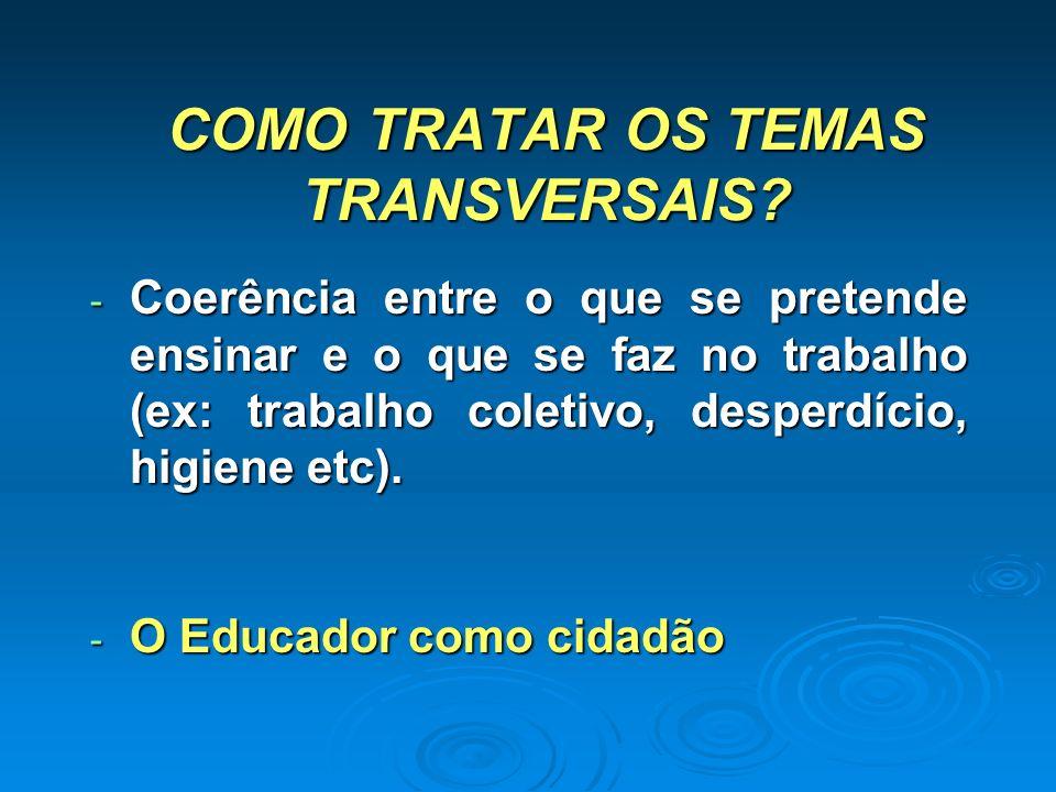 COMO TRATAR OS TEMAS TRANSVERSAIS