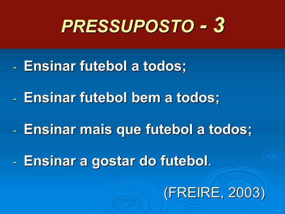 PRESSUPOSTO - 3 Ensinar futebol a todos; Ensinar futebol bem a todos;