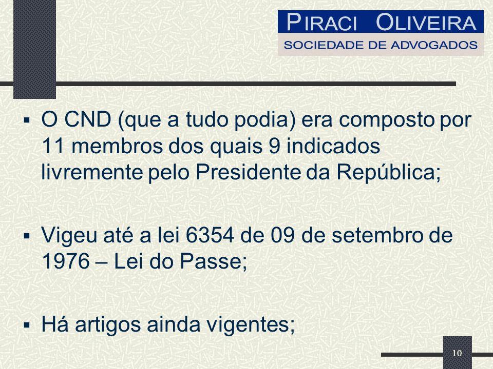 O CND (que a tudo podia) era composto por 11 membros dos quais 9 indicados livremente pelo Presidente da República;