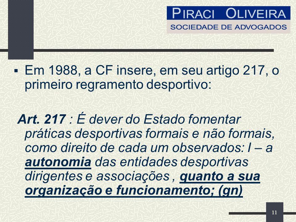 Em 1988, a CF insere, em seu artigo 217, o primeiro regramento desportivo: