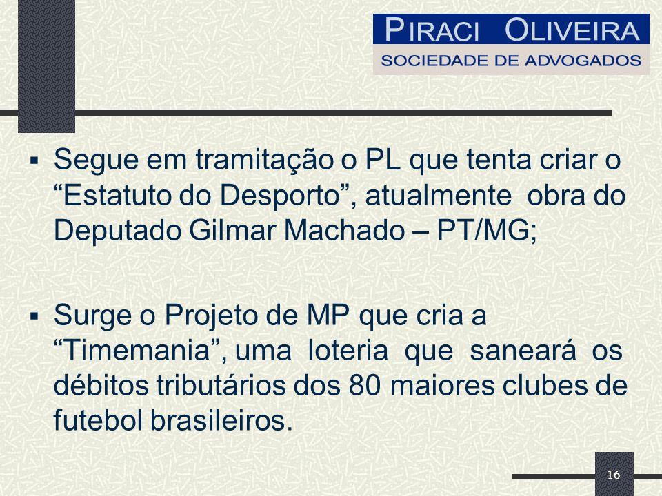 Segue em tramitação o PL que tenta criar o Estatuto do Desporto , atualmente obra do Deputado Gilmar Machado – PT/MG;