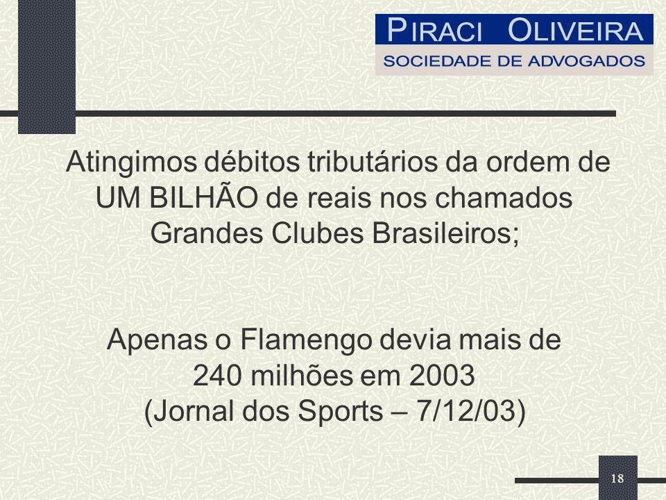 Atingimos débitos tributários da ordem de UM BILHÃO de reais nos chamados Grandes Clubes Brasileiros; Apenas o Flamengo devia mais de 240 milhões em 2003 (Jornal dos Sports – 7/12/03)
