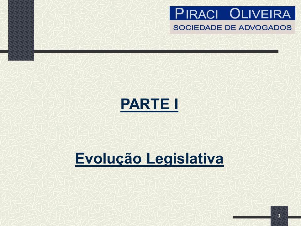 PARTE I Evolução Legislativa