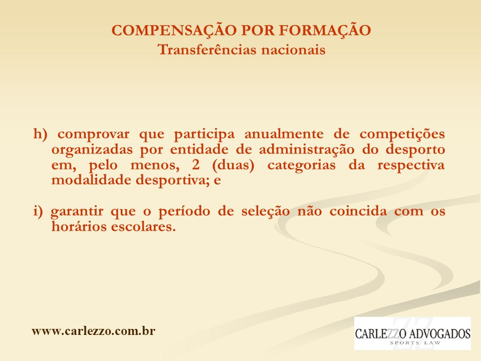 COMPENSAÇÃO POR FORMAÇÃO Transferências nacionais