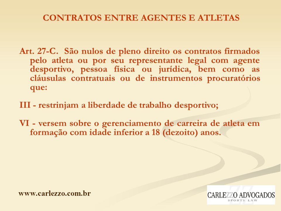 CONTRATOS ENTRE AGENTES E ATLETAS