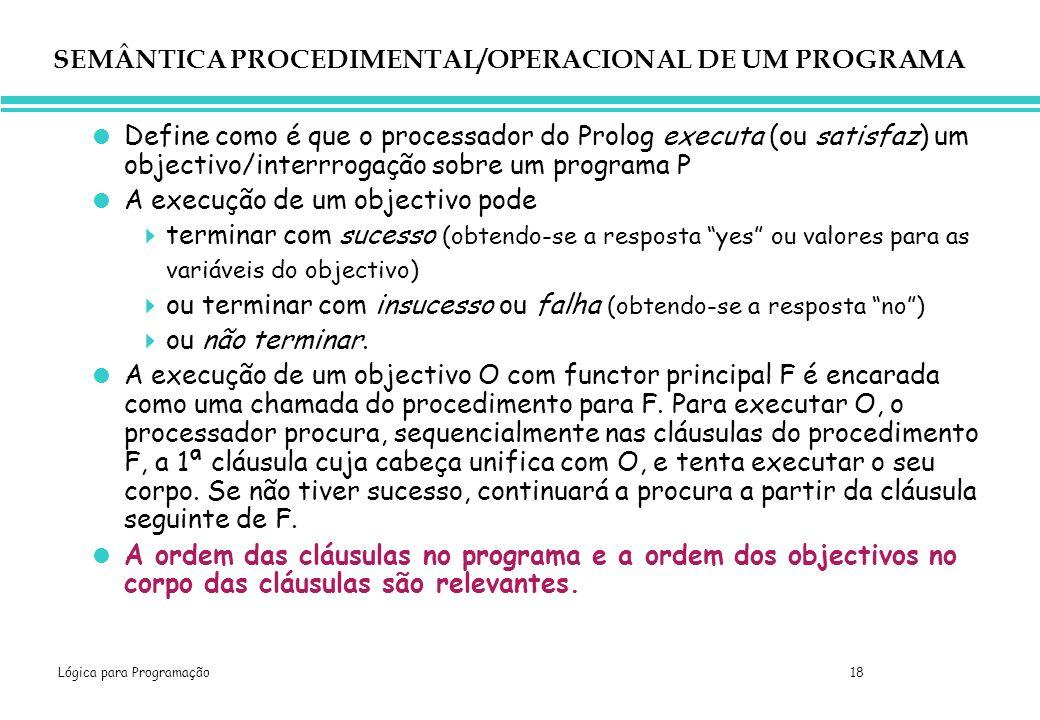 SEMÂNTICA PROCEDIMENTAL/OPERACIONAL DE UM PROGRAMA