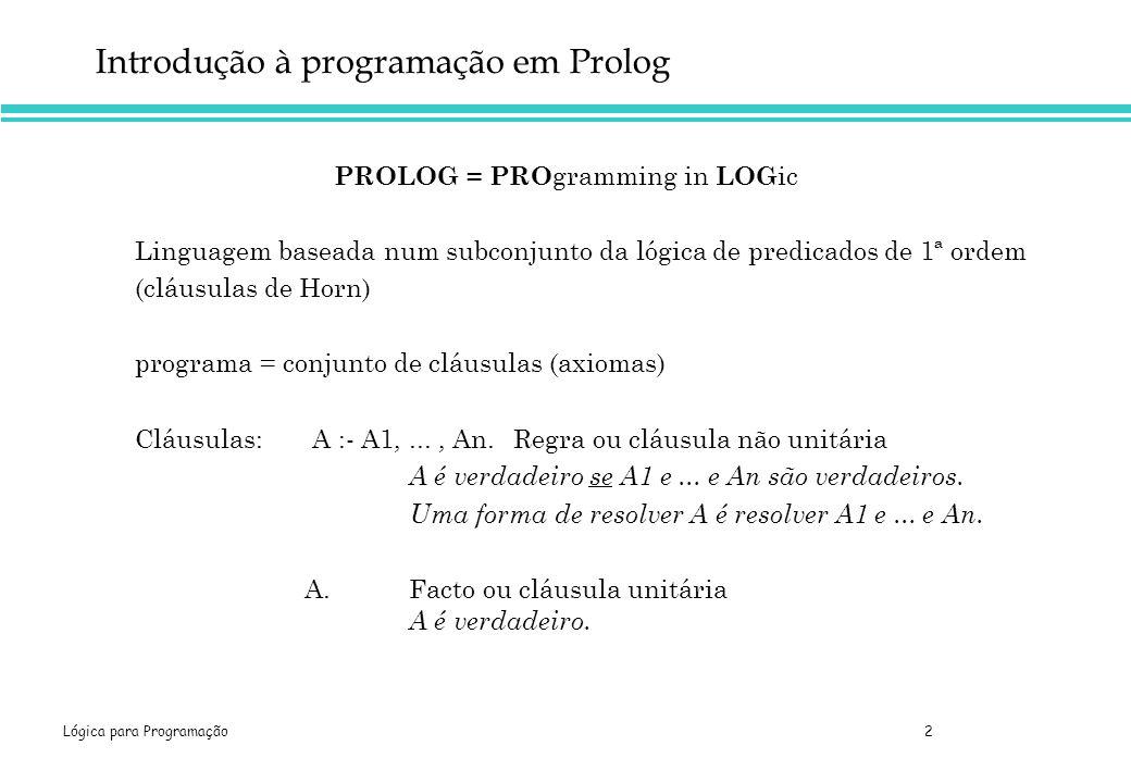Introdução à programação em Prolog