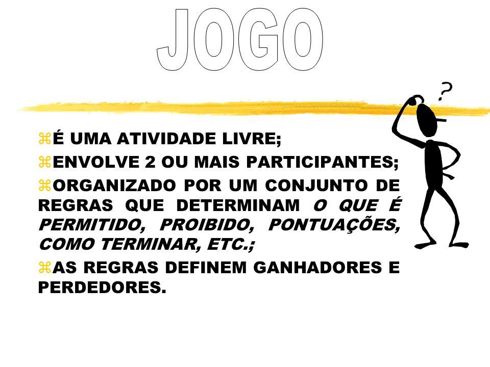 JOGO É UMA ATIVIDADE LIVRE; ENVOLVE 2 OU MAIS PARTICIPANTES;