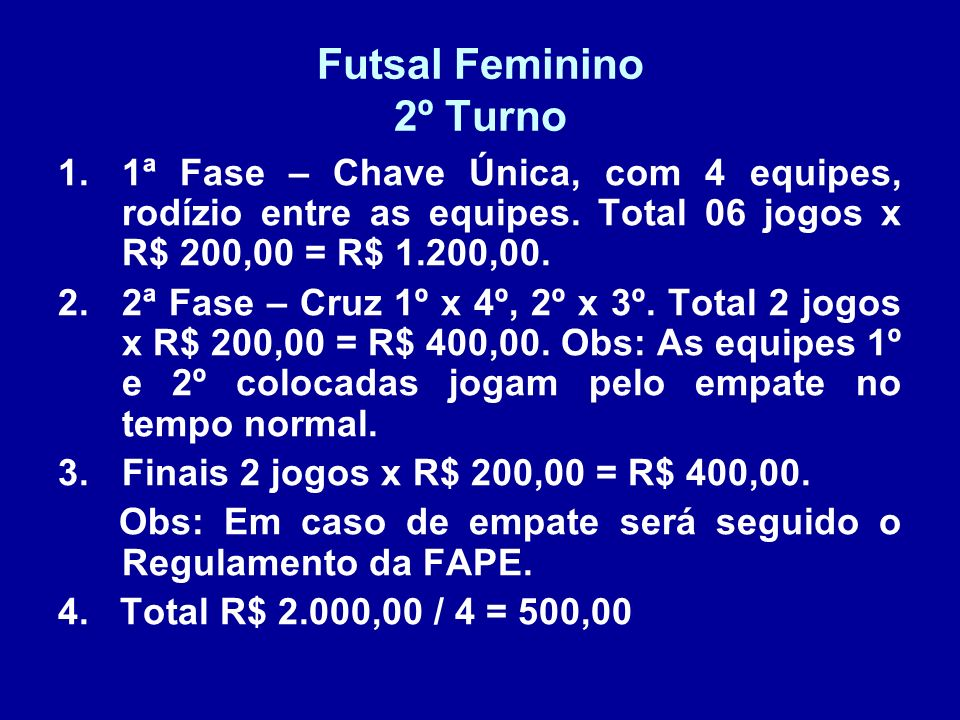 Futsal Feminino 2º Turno