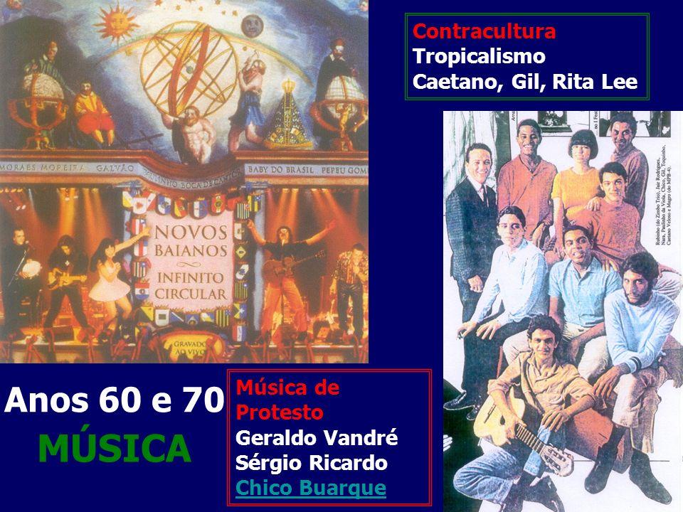MÚSICA Anos 60 e 70 Contracultura Tropicalismo Caetano, Gil, Rita Lee