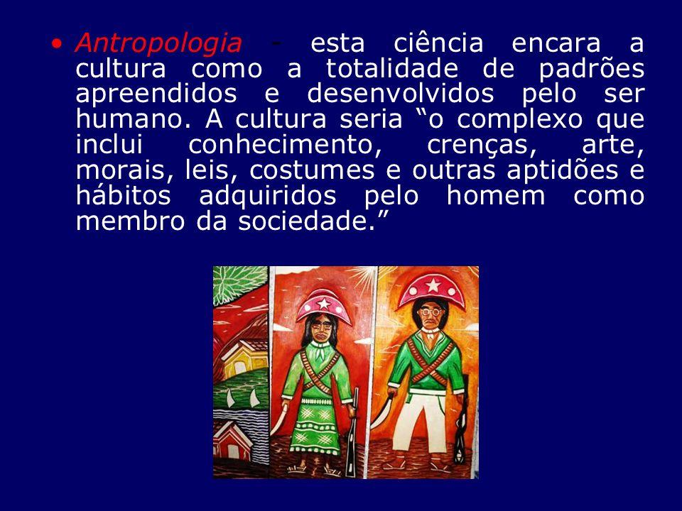 Antropologia - esta ciência encara a cultura como a totalidade de padrões apreendidos e desenvolvidos pelo ser humano.