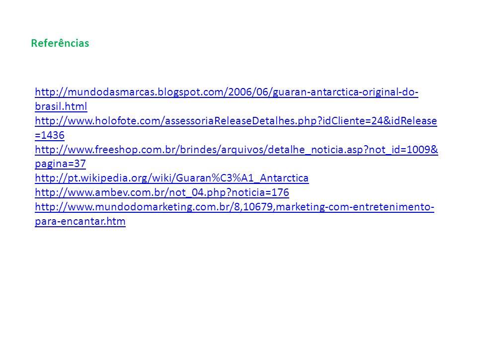 Referências http://mundodasmarcas.blogspot.com/2006/06/guaran-antarctica-original-do-brasil.html.