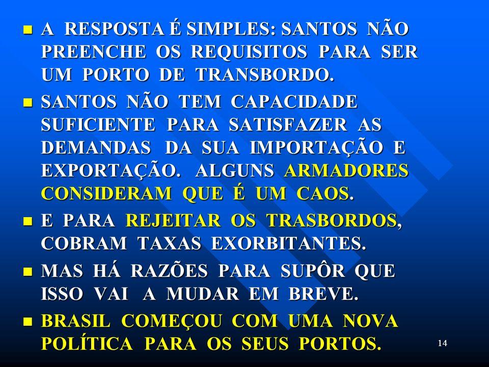 A RESPOSTA É SIMPLES: SANTOS NÃO PREENCHE OS REQUISITOS PARA SER UM PORTO DE TRANSBORDO.
