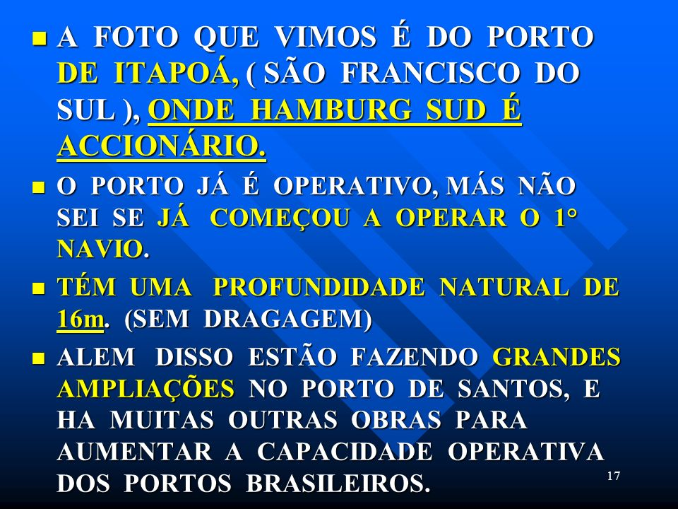 A FOTO QUE VIMOS É DO PORTO DE ITAPOÁ, ( SÃO FRANCISCO DO SUL ), ONDE HAMBURG SUD É ACCIONÁRIO.