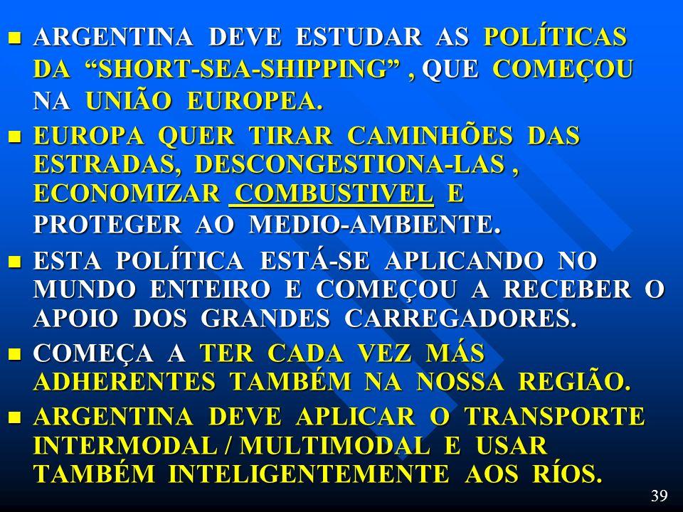 ARGENTINA DEVE ESTUDAR AS POLÍTICAS DA SHORT-SEA-SHIPPING , QUE COMEÇOU NA UNIÃO EUROPEA.
