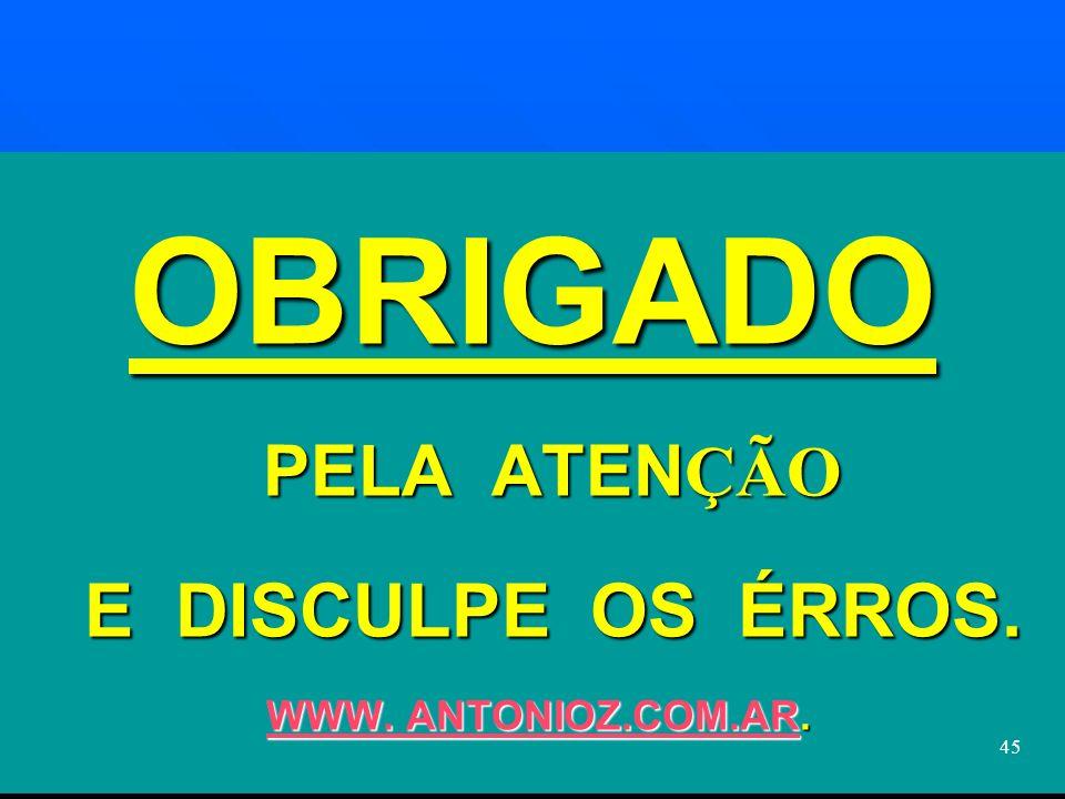 OBRIGADO PELA ATENÇÃO E DISCULPE OS ÉRROS. WWW. ANTONIOZ.COM.AR.