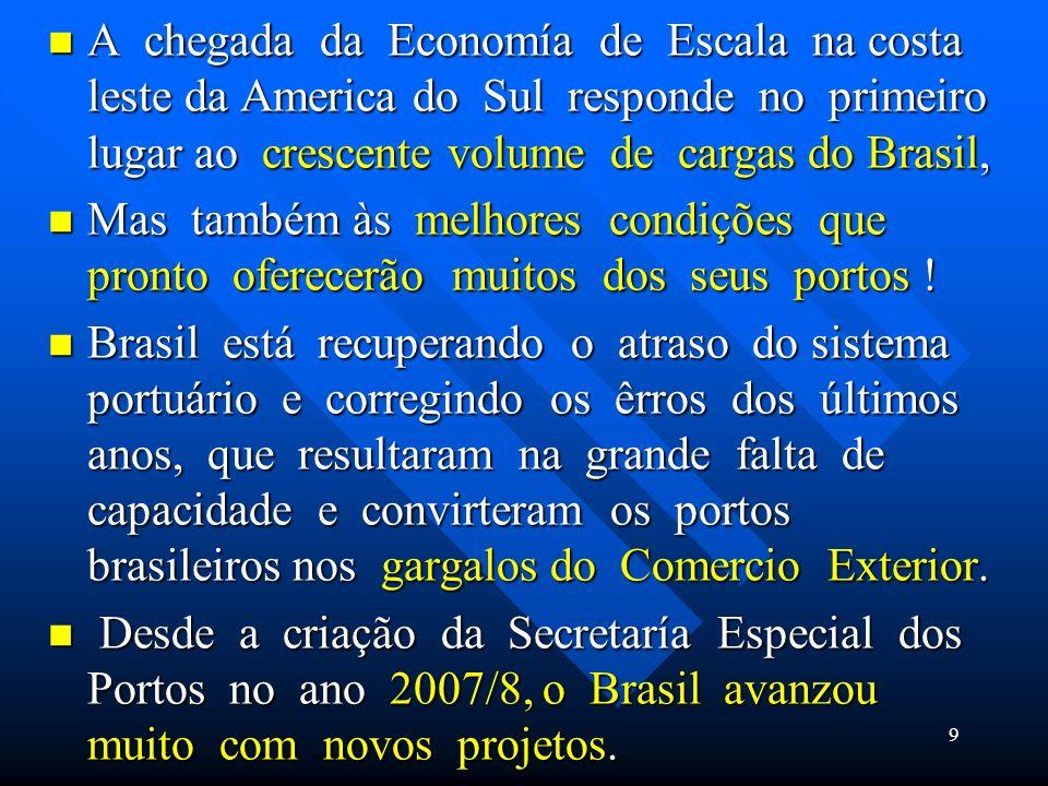 A chegada da Economía de Escala na costa leste da America do Sul responde no primeiro lugar ao crescente volume de cargas do Brasil,