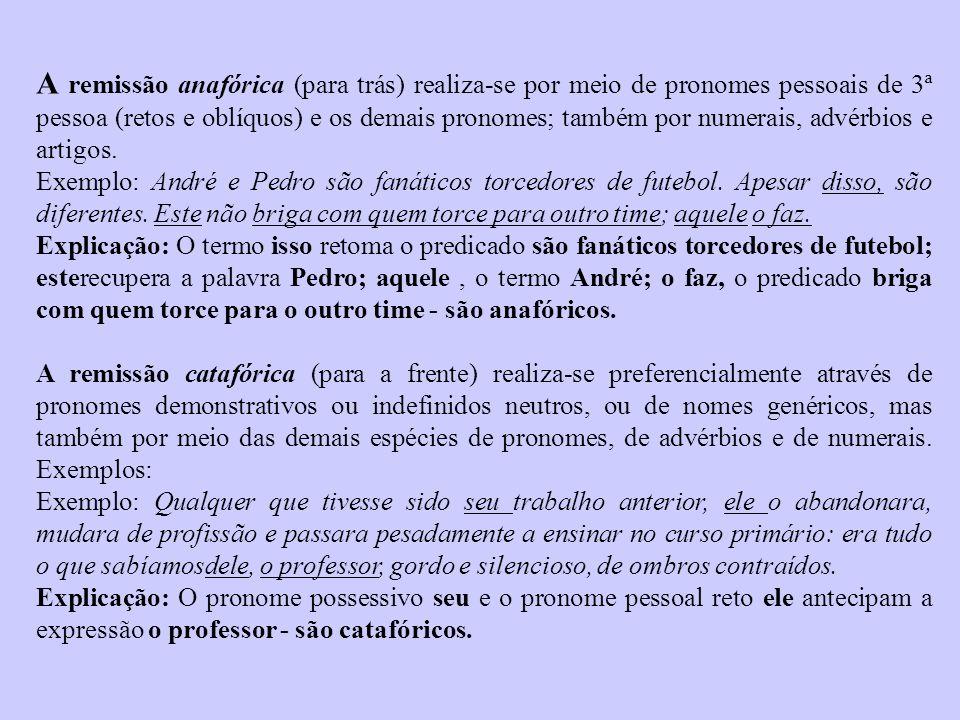 A remissão anafórica (para trás) realiza-se por meio de pronomes pessoais de 3ª pessoa (retos e oblíquos) e os demais pronomes; também por numerais, advérbios e artigos.