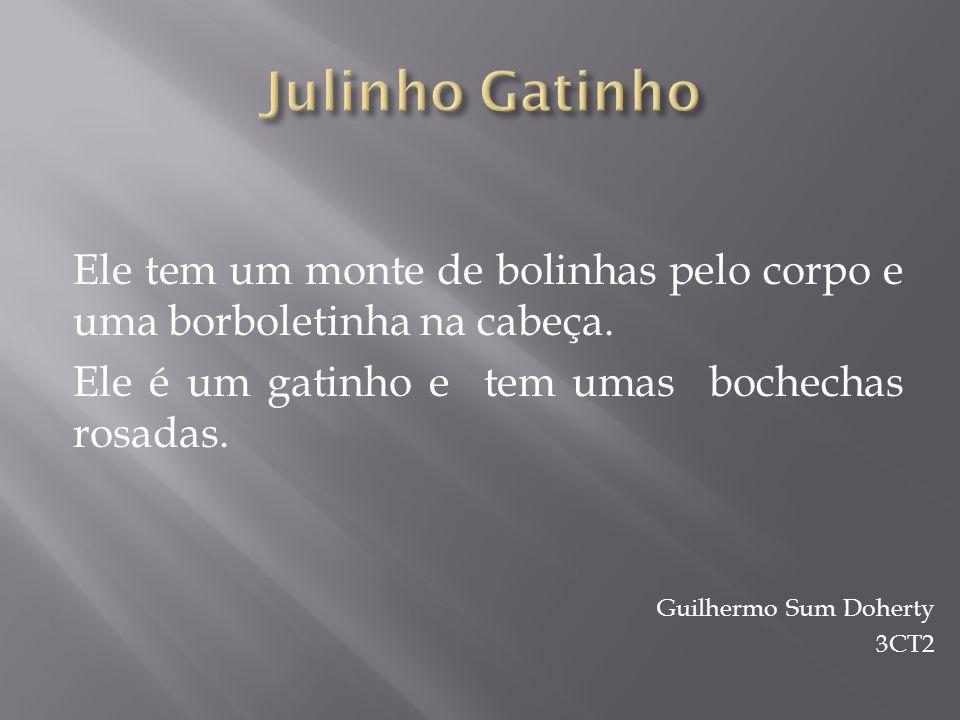 Julinho Gatinho Ele tem um monte de bolinhas pelo corpo e uma borboletinha na cabeça. Ele é um gatinho e tem umas bochechas rosadas.