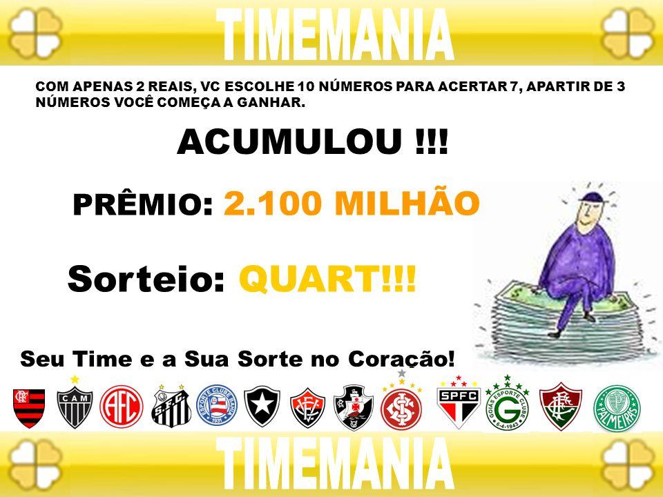 TIMEMANIA Sorteio: QUART!!! TIMEMANIA ACUMULOU !!!