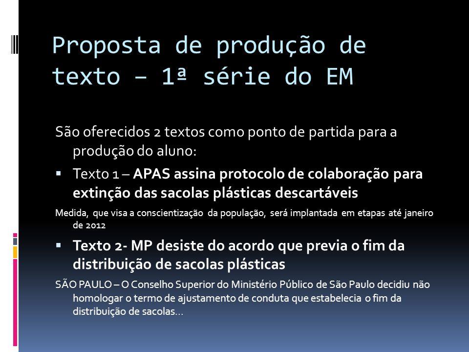 Proposta de produção de texto – 1ª série do EM