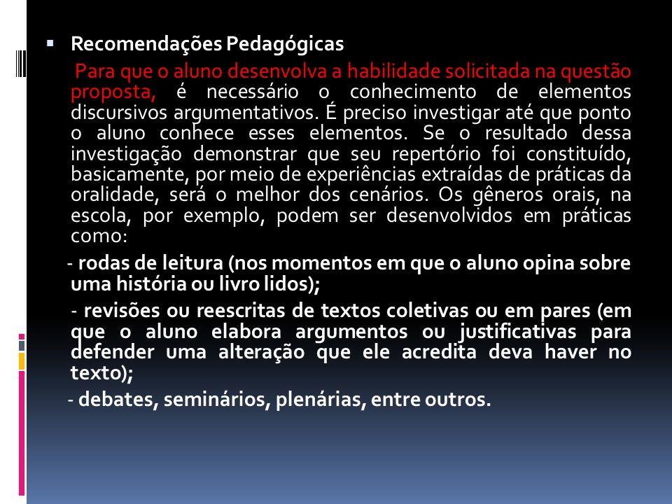Recomendações Pedagógicas