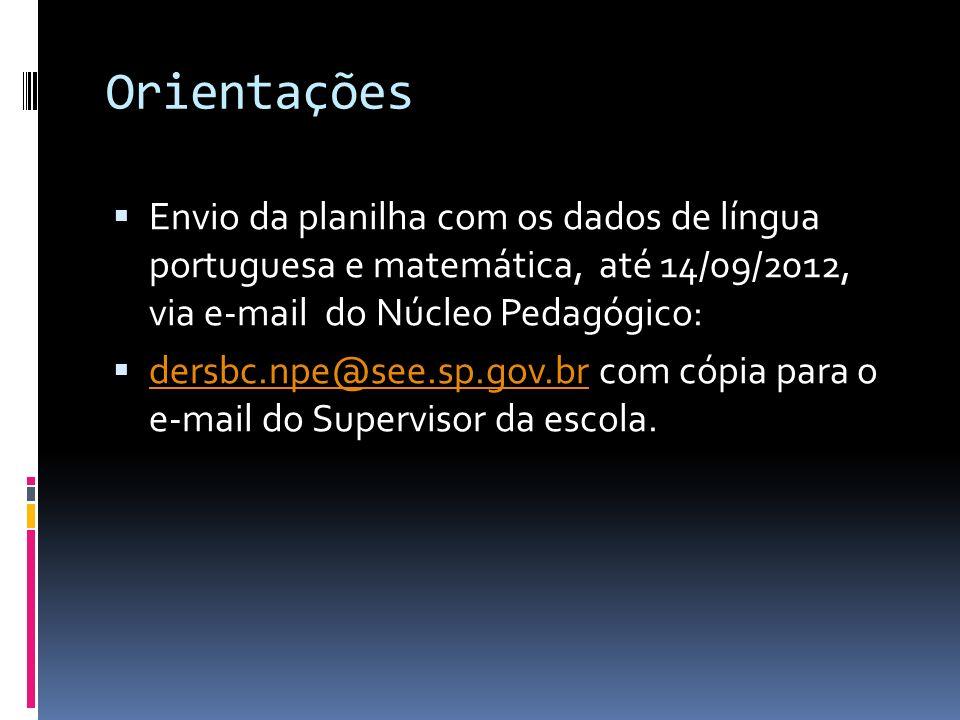 Orientações Envio da planilha com os dados de língua portuguesa e matemática, até 14/09/2012, via e-mail do Núcleo Pedagógico: