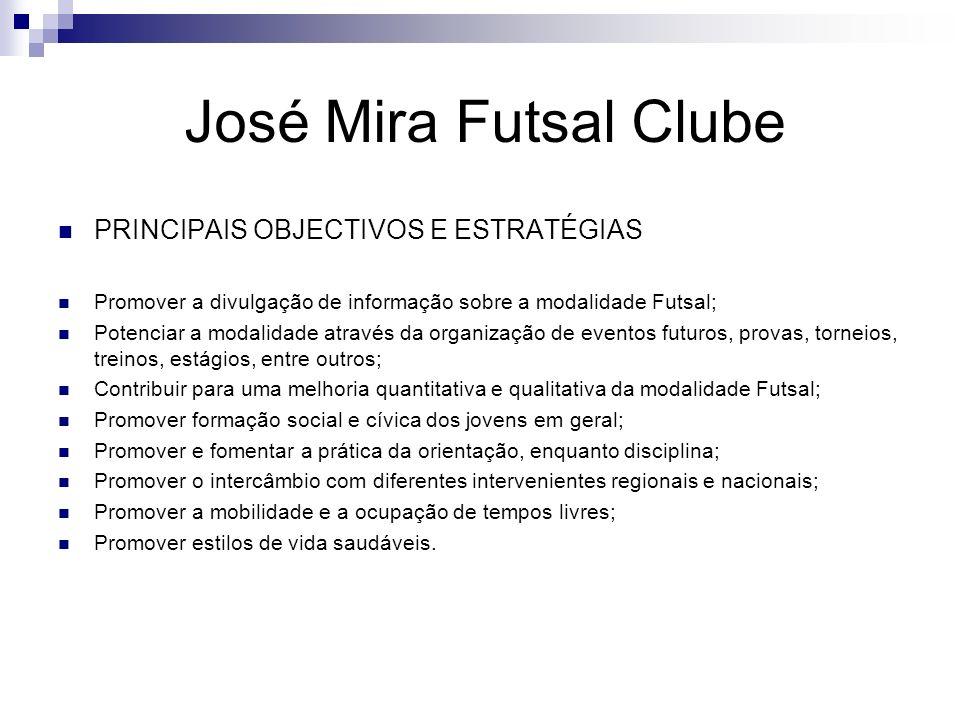 José Mira Futsal Clube PRINCIPAIS OBJECTIVOS E ESTRATÉGIAS