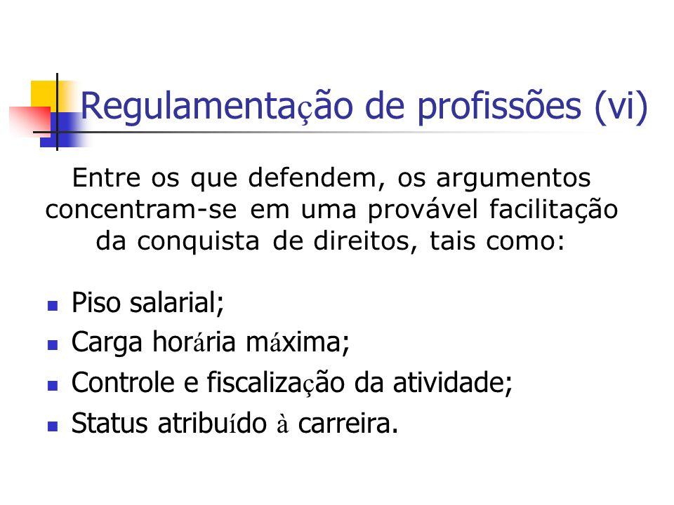 Regulamentação de profissões (vi)
