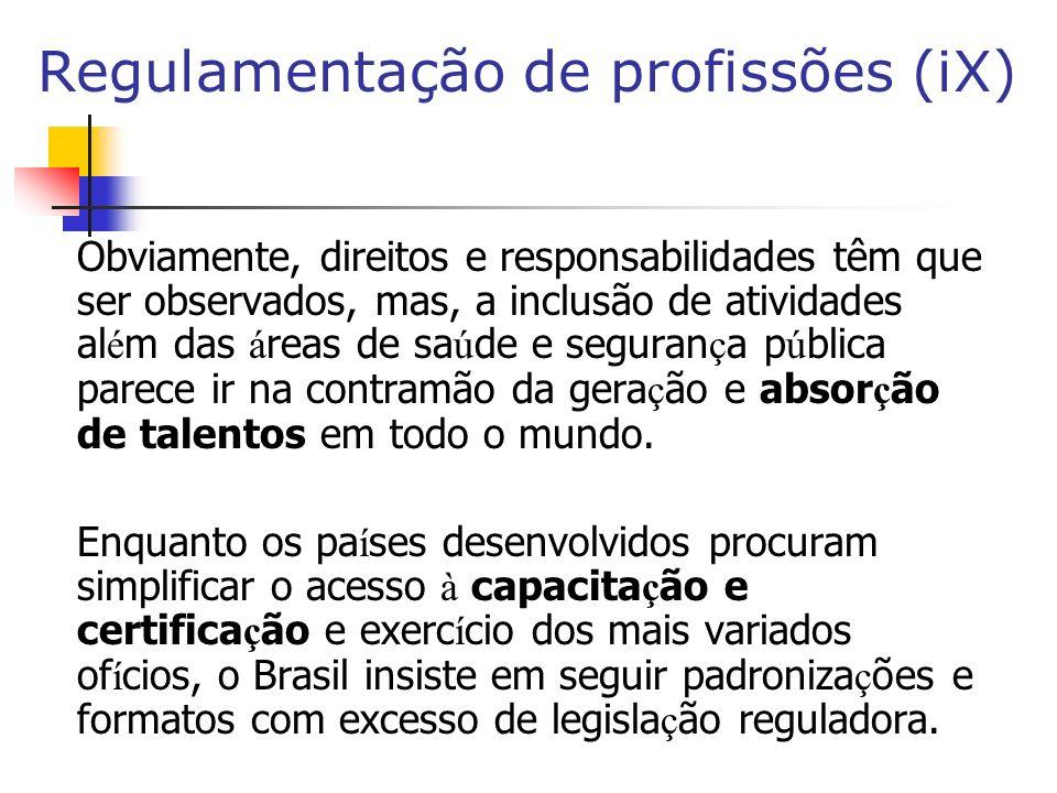 Regulamentação de profissões (iX)
