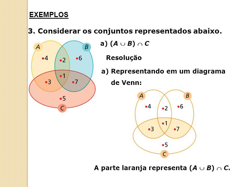 A parte laranja representa (A  B)  C.