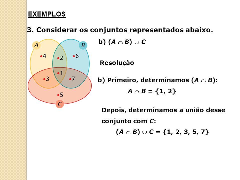 3. Considerar os conjuntos representados abaixo.
