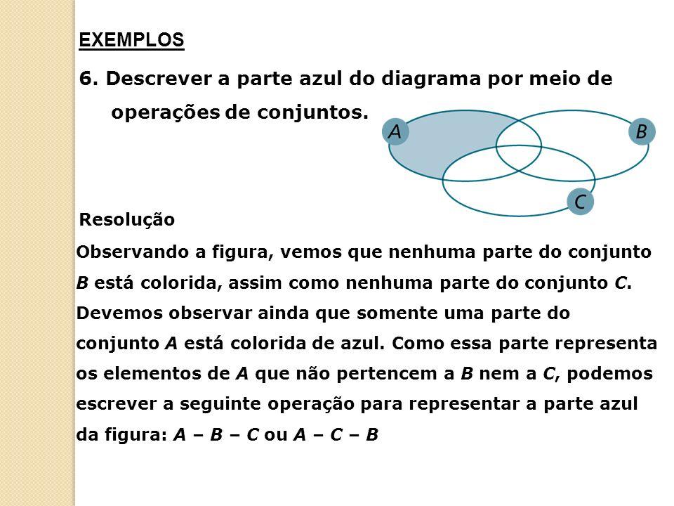 EXEMPLOS 6. Descrever a parte azul do diagrama por meio de operações de conjuntos. Resolução.