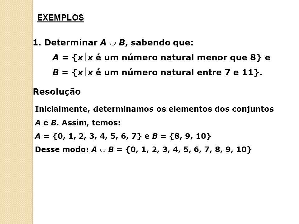 EXEMPLOS 1. Determinar A  B, sabendo que: A = {xx é um número natural menor que 8} e B = {xx é um número natural entre 7 e 11}.
