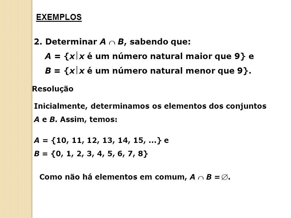 EXEMPLOS 2. Determinar A  B, sabendo que: A = {xx é um número natural maior que 9} e B = {xx é um número natural menor que 9}.