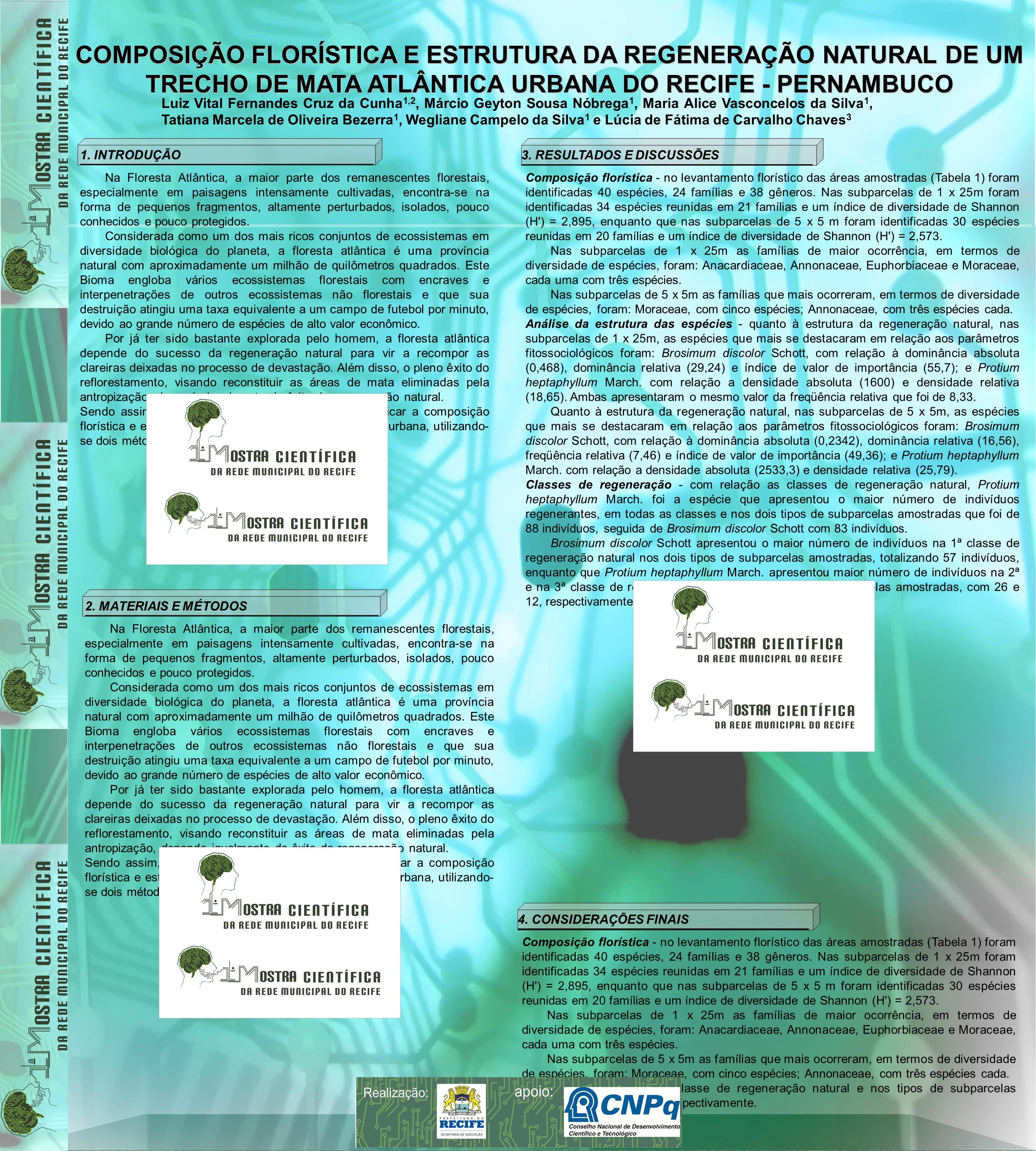 COMPOSIÇÃO FLORÍSTICA E ESTRUTURA DA REGENERAÇÃO NATURAL DE UM TRECHO DE MATA ATLÂNTICA URBANA DO RECIFE - PERNAMBUCO